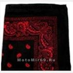 Платок байкерский универсальный (квадратной формы) (№2) (Красные вензеля на черном фоне)