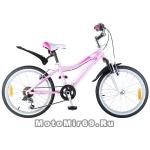Велосипед 20'' NOVATRACK NOVARA (6-скор, TY21/TS38/SG-6SI, V-brake) 124570, сиреневый