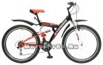Велосипед 26 STINGER BANZAI (2х.подв,18ск,рама ст.16,торм.обод.V-Br,TZ30/TY21/TS-38) 124831черный