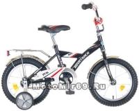 Велосипед 14 NOVATRACK BMX (защита А-тип, крылья и багажник хром) 077399, черный/серый