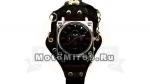 Часы наручные с браслетом, застегивающимся на руке и кольцом (черные ремешки, квадратный циферблат)