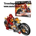 Конструктор детский подарочный робот на мотоцикле (красно-желтого цвета) (9368)