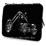 Чехол для ноутбука. планшета из черного неопрена с изображением мотоцикла (ЧОППЕРА) 12