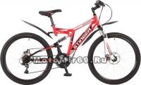 Велосипед 26 STINGER HIGHLANDER 100D (2х.подв.,18ск,рама 16,18, торм.V-brake) красный 117345