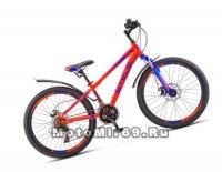 Велосипед 24 STELS Navigator-400 MD (18ск,рама 12,аморт.вилка,дв.AL обода,мех.диск.торм) неон-кра