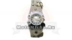 Часы наручные с цепью, компасом и силуетом черепа и сабли на циферблате (белый кожаный ремешок)