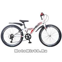 Велосипед 24 NOVATRACK RACER (6ск,МТВ,рама ст.10,вилка жест,торм.V-Brake) 135372, белый