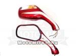 Зеркала (070) d10-8 пласт. Каплевидные объемные красные поворотник (кол-во в упак. 40 пар.)