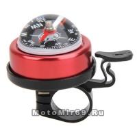 Звонок Вело малый с компасом, синий/красный