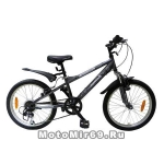 Велосипед 20 NOVATRACK EXTREME (6ск,рама алюм.,торм.обод. (V-Brake)) 077527 серый