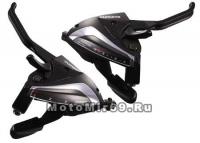 Шифтер/тормозная ручка Shimano Tourney, EF65, лев/пр, 3x7ск, тр.+оплетк, цв. черн.