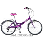 Велосипед 24'' FS-24 NOVATRACK (складной,6ск,торм.1руч,ножной,багаж,звонок) 137240 черный