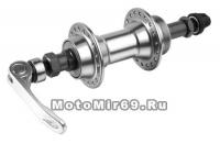 Втулка задняя SHUNFENG MTB алюминиевая под трещотку (6-8 ск.) 3/8x14Gx36Hx135x145 с эксцентриком сер