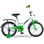 Велосипед 16 NOVATRACK STRIKE (торм.ножной, крылья и багажник черные) белый-зеленый, 124276