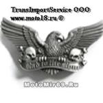 Пряжка для ремня в форме орла с раскрытыми крыльями, 2 черепов и надписи Bad to the bone