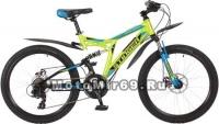 Велосипед 24 STINGER HIGHLANDER 200 D (2х.подв,18ск,рама 16,5сталь,торм.мех.диск) зеленый 117385