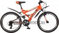 Велосипед 24 STINGER VERSUS (2х подвес.,21ск,рама 16,5,торм.V-br,TY10/TY300/EF41) оранж.