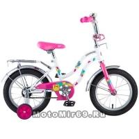 Велосипед 14'' NOVATRACK TETRIS (1ск,торм.нож,крылья цвет,сидение для кукл) 126733, белый