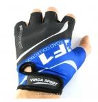 Перчатки вело, цвет черный с синим, размер L