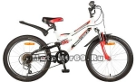 Велосипед 20'' NOVATRACK SHARK (2х.подв, МТВ,1ск,рама сталь,торм.V-brake) 117084, белый