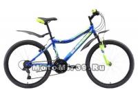 Велосипед 24 BLACK ICE (21ск, рама сталь 18, тормоза V-Brake) синий/зеленый/голубой