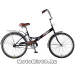 Велосипед 24'' FS-24 NOVATRACK (складной,1ск,торм.ножной,багаж,звонок) 126783 черный