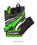 Перчатки вело мужские, гелевые вставки, цвет черный с зеленым, размер XL