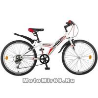 Велосипед 24 NOVATRACK RACER (6ск,МТВ,рама ст.12,вилка жест,торм.V-Brake) 135370, белый