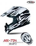 Шлем кроссовый SHIRO MX-734 BRAVO, размер L, (красный/белый, черный/белый)