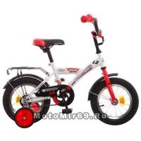 Велосипед 12 NOVATRAСK ASTRA (защита А-тип, крылья и багажник хром.,доп.колеса) 098564, белый