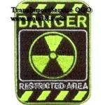 Нашивка DANGER restricted area (Опасность, зеленая, красивая) 03441103 НАКЛЕИВАЕТСЯ УТЮГОМ