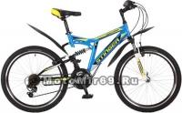 Велосипед 24 STINGER HIGHLANDER 100 V (2х.подв.,18ск,рама 16,5сталь,торм.V-br) синий 117391
