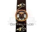 Часы наручные с цепью и с крышечкой в форме черепа (коричневый кожаный ремешок)