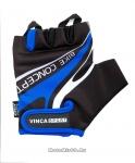 Перчатки вело мужские, гелевые вставки, цвет черный с синим, размер M