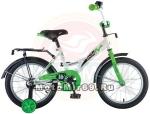 Велосипед 12 NOVATRACK STRIKE (ножной тормоз, цветные крылья, багажник черный) 125955 бело-зеленый