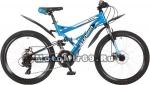Велосипед 24 STINGER VERSUS D (2х подвес.,21ск,рама 16,5сталь,торм.мех.дискTY10/TY) синий 117380