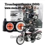 Модель мотоцикла радиоуправляемая (черно-белый байк с усатым мотоциклистом в шлеме)
