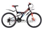Велосипед 24 BLACK ICE FS D (21ск, рама сталь 18, тормоза мех.дисковые) черный/красный/синий
