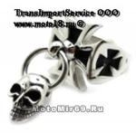 Перстень байкерский (R123WM) КРЕСТ байкерский + висючка ЧЕРЕП, размеры 10,11,12