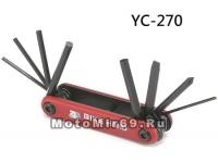 Набор инструментов BIKE HAND YC-270 складной: шестигранники 2/2.5/3/4/5/6, отвёртки +/-