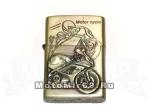 Зажигалка типа ZIPPO Z2 (изображение передняя часть СПОРТ мотоцикла), иск. старение, стиль бронза