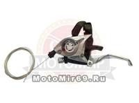 Шифтер/тормозная ручка Shimano Tourney, EF51, лев, 3ск, тр.+оплетк, цв. серебр.