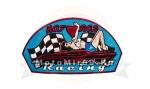 Нашивка Hot Rod Racing (девушка 70х с сердечком, машиной и финишными флагами) 05591116 НАКЛЕИВАЕТСЯ
