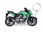 Брелок Модель мототехники (КС014), ПВХ, дорожный мотоцикл Зеленый с черным
