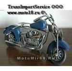 Модель мотоцикла хендмейд, синий бак и крылья №2 (С2 два седла)
