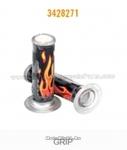 Ручки руля, рисунок оранжевое пламя на черном фоне силиконовые (3428271)