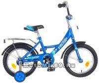 Велосипед 14 NOVATRACK VECTOR (1ск,рама сталь,тормоз нож,крыл.и баг.хром) 77392 синий