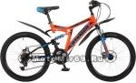 Велосипед 24 STINGER HIGHLANDER 100 D (2х.подв,18ск,рама 16,5сталь,торм.мех.диск) оранж.