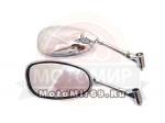 Зеркала (012) d8 Каплевидные объемные ХРОМ (КРЕПКОЕ ОСНОВАНИЕ) (скутер)