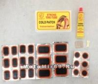 Набор для ремонта камер YP3401-C (24 заплатки, клей, рашпиль, 2 нипеля)